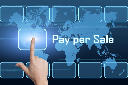 Pay per Sale concept with interface and world map on blue background photo