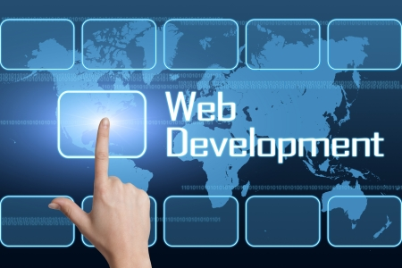 Web Development concept with interface and world map on blue background
