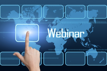 virtual classroom: Webinar concept with interface and world map on blue background Stock Photo