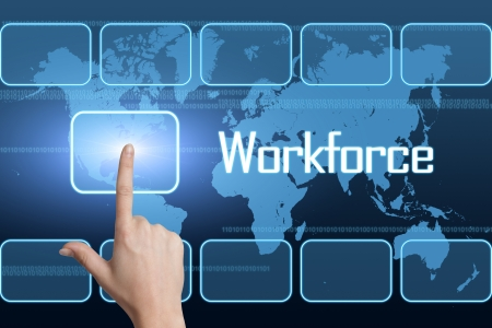 hard to find: Workforce concept with interface and world map on blue background