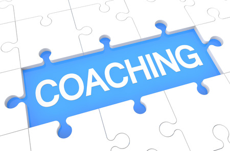 Coaching - puzzle 3d render illustration with word on blue background illustration