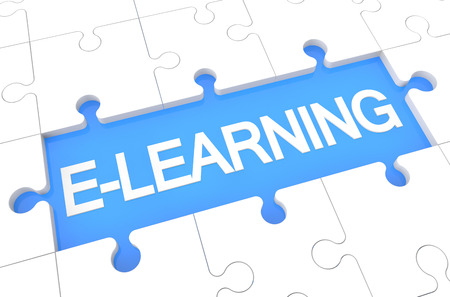 elearn: E-learning - puzzle 3d render illustration with word on blue background