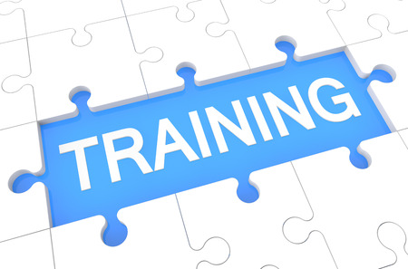 elearn: Training - puzzle 3d render illustration with word on blue background Stock Photo
