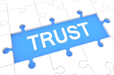 Trust - puzzle 3d render illustration with word on blue background illustration