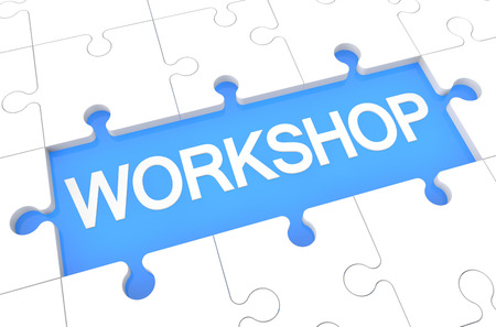 elearn: Workshop - puzzle 3d render illustration with word on blue background