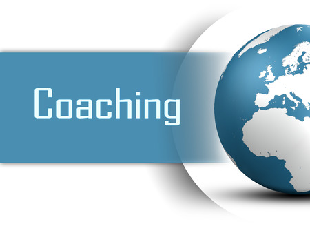 Coaching concept with globe on white background Standard-Bild
