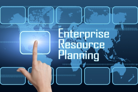 enterprises: Enterprise Resource Planning concept with interface and world map on blue background