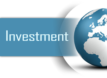 Investment concept with globe on white background photo