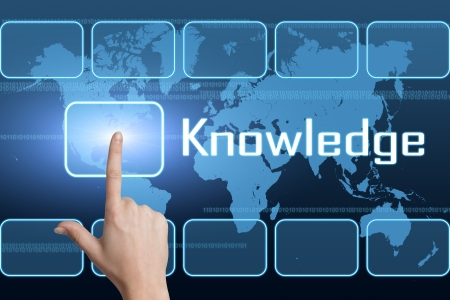 Knowledge concept with interface and world map on blue background Stock Photo