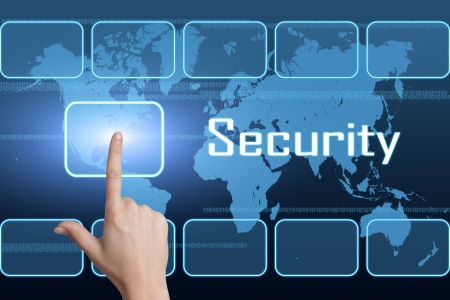 Security concept with interface and world map on blue background photo