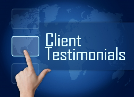 affirmations: Client Testimonials concept with interface and world map on blue background
