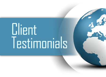 testimonials: Client Testimonials concept with globe on white background Stock Photo