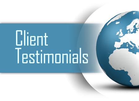 Client Testimonials concept with globe on white background Standard-Bild