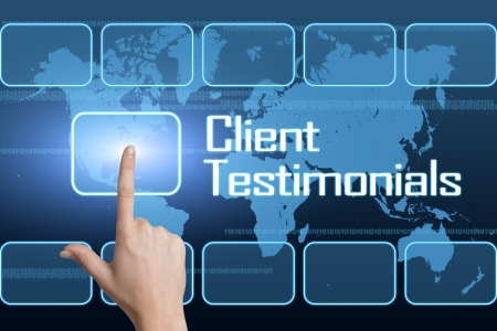 client: Client Testimonials concept with interface and world map on blue background
