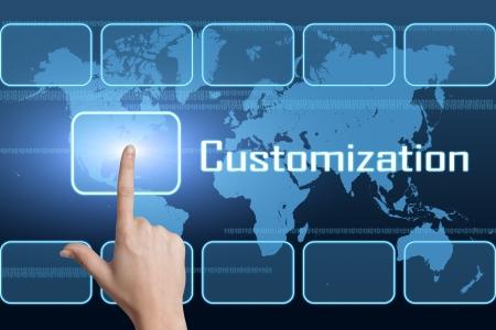 Customization concept met interface en kaart van de wereld op blauwe achtergrond