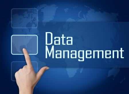 Data Management concept with interface and world map on blue background photo