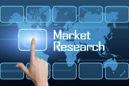 developmental: Market Research concept with interface and world map on blue background