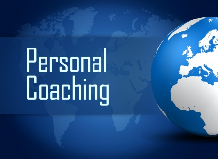 knowlage: Personal Coaching concept with globe on blue background