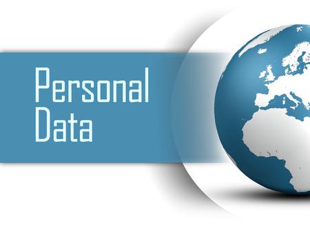 datos personales: Concepto de datos personales con el globo en el fondo blanco