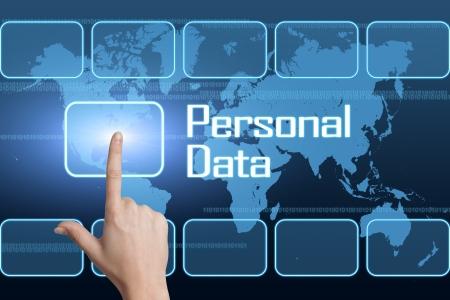 datos personales: Concepto de datos personales con la interfaz y el mapa del mundo sobre fondo azul Foto de archivo