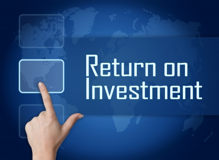 return on investment: Return on Investment concept with interface and world map on blue background