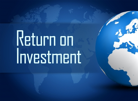 dividend: Return on Investment concept with globe on blue background