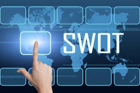 SWOT for strengths, weaknesses, opportunities and threats concept with interface and world map on blue background photo