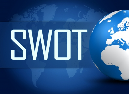 SWOT for strengths, weaknesses, opportunities and threats concept with globe on blue background photo