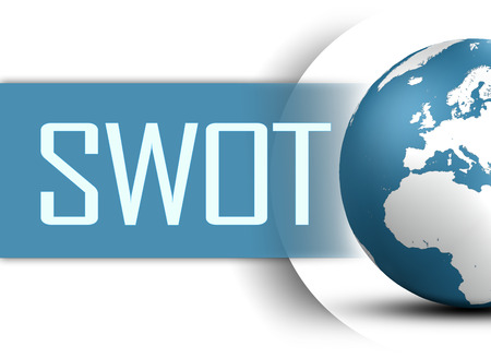 SWOT for strengths, weaknesses, opportunities and threats concept with globe on white background