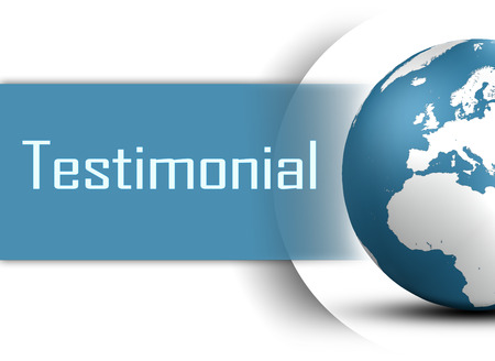 Testimonial concept with globe on white background photo