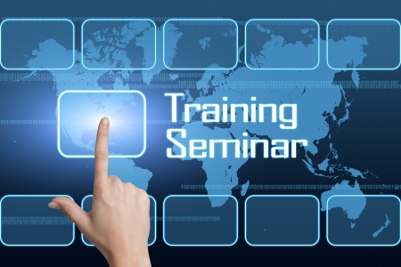 knowlage: Training Seminar concept with interface and world map on blue background Stock Photo