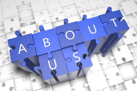 About us - puzzle 3d render illustration with block letters on blue jigsaw pieces