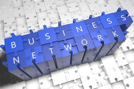 Business Network - puzzle 3d render illustration Stock Illustration - 24973209
