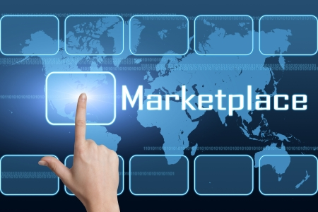 Marketplace concept with interface and world map on blue background Stock Photo