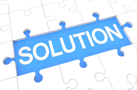 Solution - puzzle 3d render illustration with word on blue background illustration