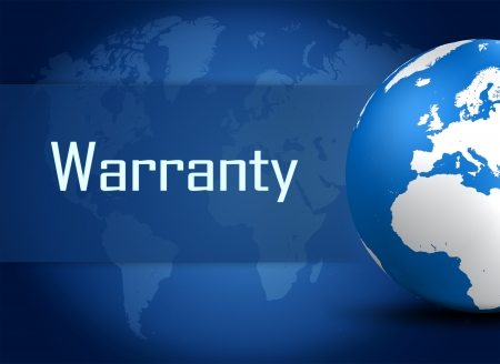 Warranty concept with globe on blue background photo