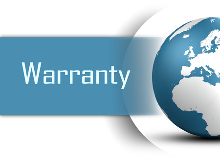 Warranty concept with globe on white background photo