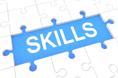 interpersonal: Skills - puzzle 3d render illustration with word on blue background Stock Photo