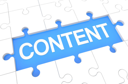 Content - puzzle 3d render illustration with word on blue background illustration