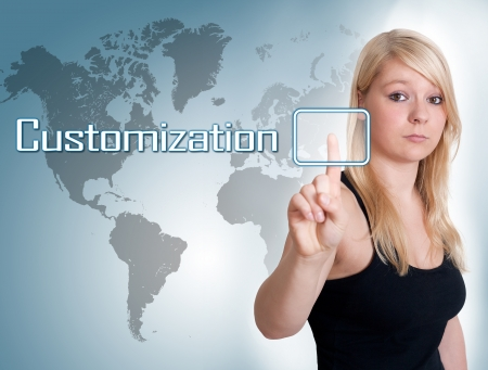 Young woman press digital Customization button on interface in front of her photo