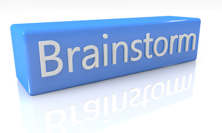 3d render blue box with text Brainstorm on it on white background with reflection photo