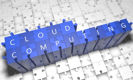 Cloud Computing - puzzle 3d render illustration with text on blue jigsaw pieces stick out of white pieces illustration