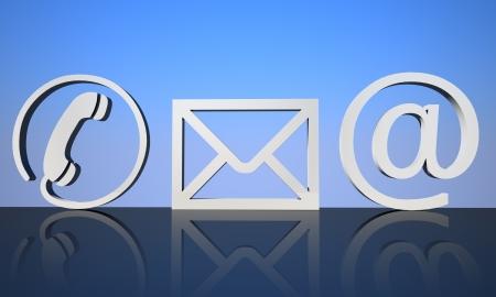 iconos contacto: 3d Contacto iconos en un terreno de reflexi�n con fondo azul