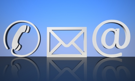 3d render Contact icons on reflective ground with blue background