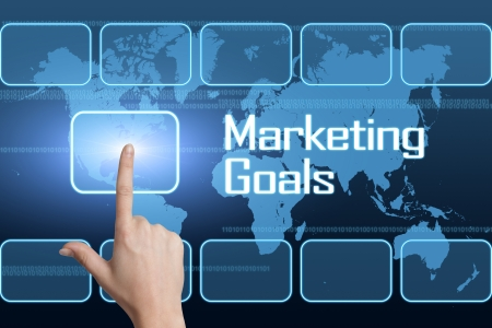 Marketing Goals concept with interface and world map on blue background photo