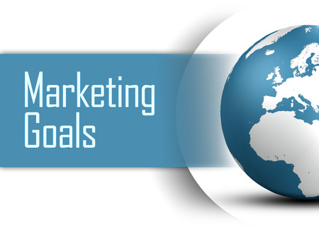 Marketing Goals concept with globe on white background photo