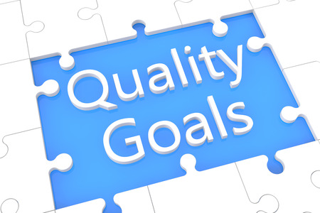 Quality Goals - puzzle 3d render illustration with word on blue background illustration