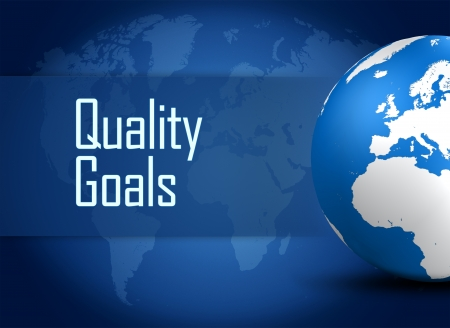 Quality Goals concept with globe on blue background photo