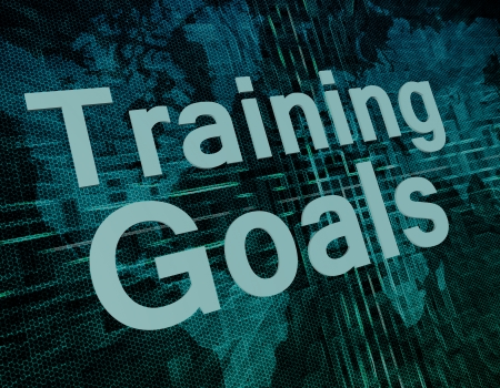 Training Goals text concept on green digital world map background  photo