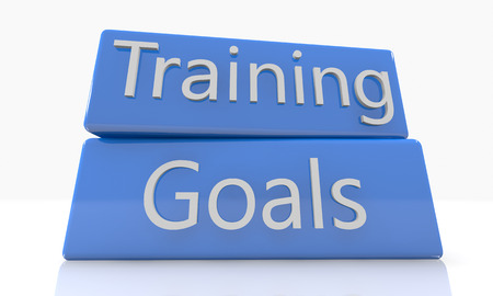 3d render blue box with Training Goals on it on white background with reflection photo